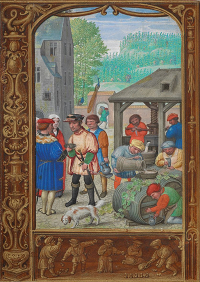 Calendar page for October with a miniature of wine making