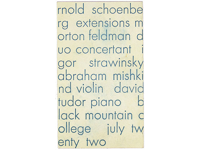 Recital of Modern and Contemporary Music, David Tudor, pianist, Abraham Mishkind, violinist, Black Mountain College, Black Mountain, North Carolina, July 22, 1953