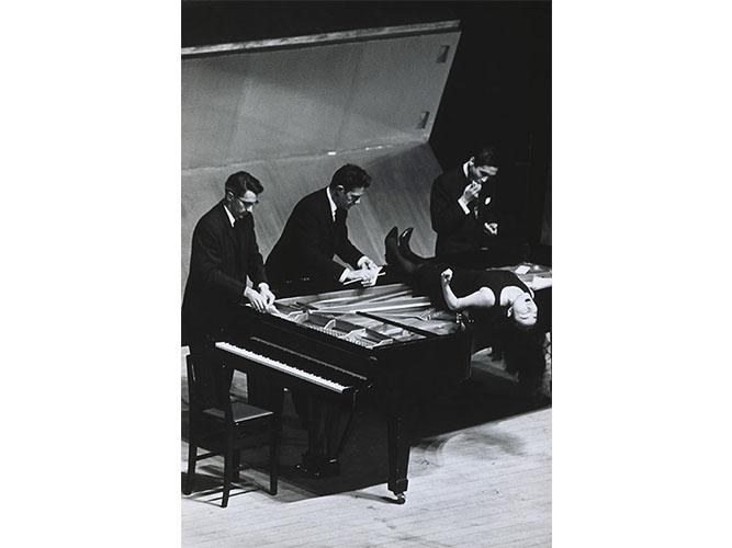 John Cage's <em/>Music Walk (performance by John Cage, David Tudor, Yoko Ono, and Mayuzumi Toshirō), Tokyo Bunka Kaikan hall, Tokyo, Japan, October 9, 1962, Matsuzaki Kunitoshi, photographer
