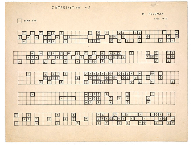 <em/>Intersection #3 (for David Tudor), autograph score, April 1953, Morton Feldman.