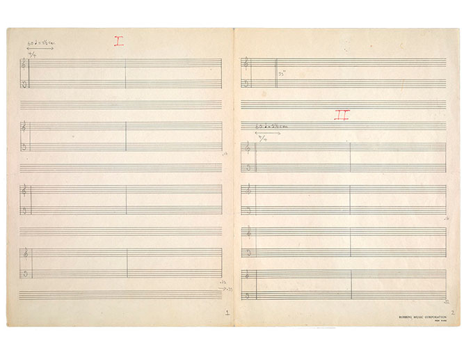 "First reconstruction of the original 1952 <em/>4'33"" score by John Cage, c. 1989, David Tudor"