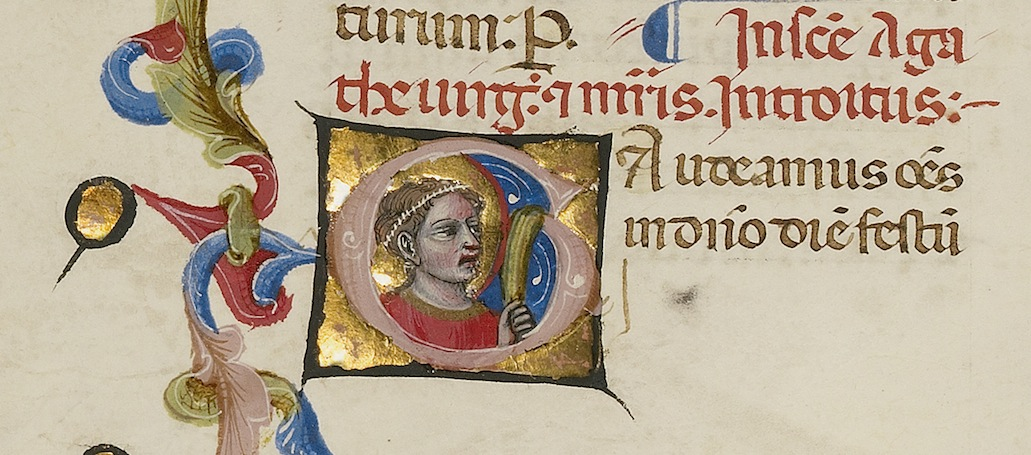 Initial G: Saint Agatha (detail), 1389–1404, Master of the Brussels Initials. Tempera colors, gold leaf, gold paint, and ink on parchment, 13 x 9 7/16 in. The J. Paul Getty Museum, Ms. 34, fol. 179v (88.MG.71.179v). Digital image courtesy of the Getty's Open Content Program