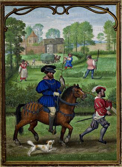Calendar page for July depicting falcon hunting, from the Hennessy Hours, 1530–40, Simon Bening. The Royal Library of Belgium, Ms. II 158, folio 7. © KIK-IRPA, Brussels (Belgium), cliché Y000070. Photo: Jean-Luc Elias, I.R.P.A.