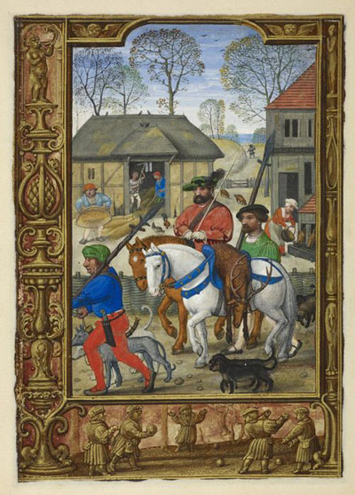 Calendar page for November with a miniature of a nobleman returning from a hunt, from the Golf Book (Book of Hours, Use of Rome), about 1540, Workshop of Simon Bening, Netherlands (Bruges). The British Library, London, Additional MS. 24098, folio 28v