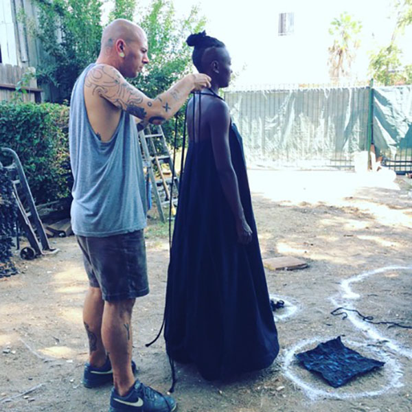 Gregory fitting the Shadow Mountain Gown on taisha.
