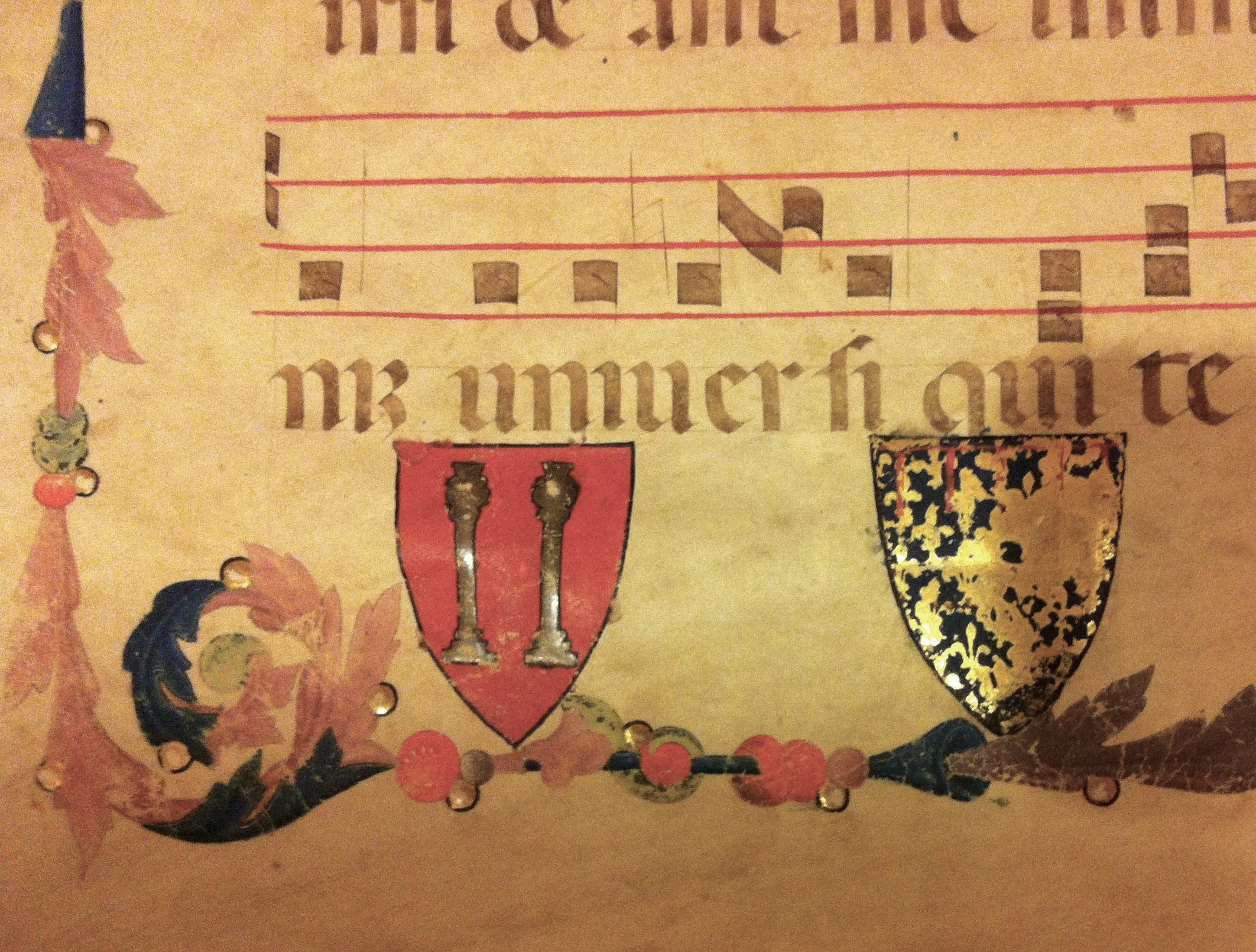 Coats of Arms, attributed to the Master of the Antiphonary of San Giovanni Fuorcivitas, about 1345-50. Tempera colors and gold leaf on parchment. Montepulciano, Museo Civico, Ms. H/2, fol. 3v