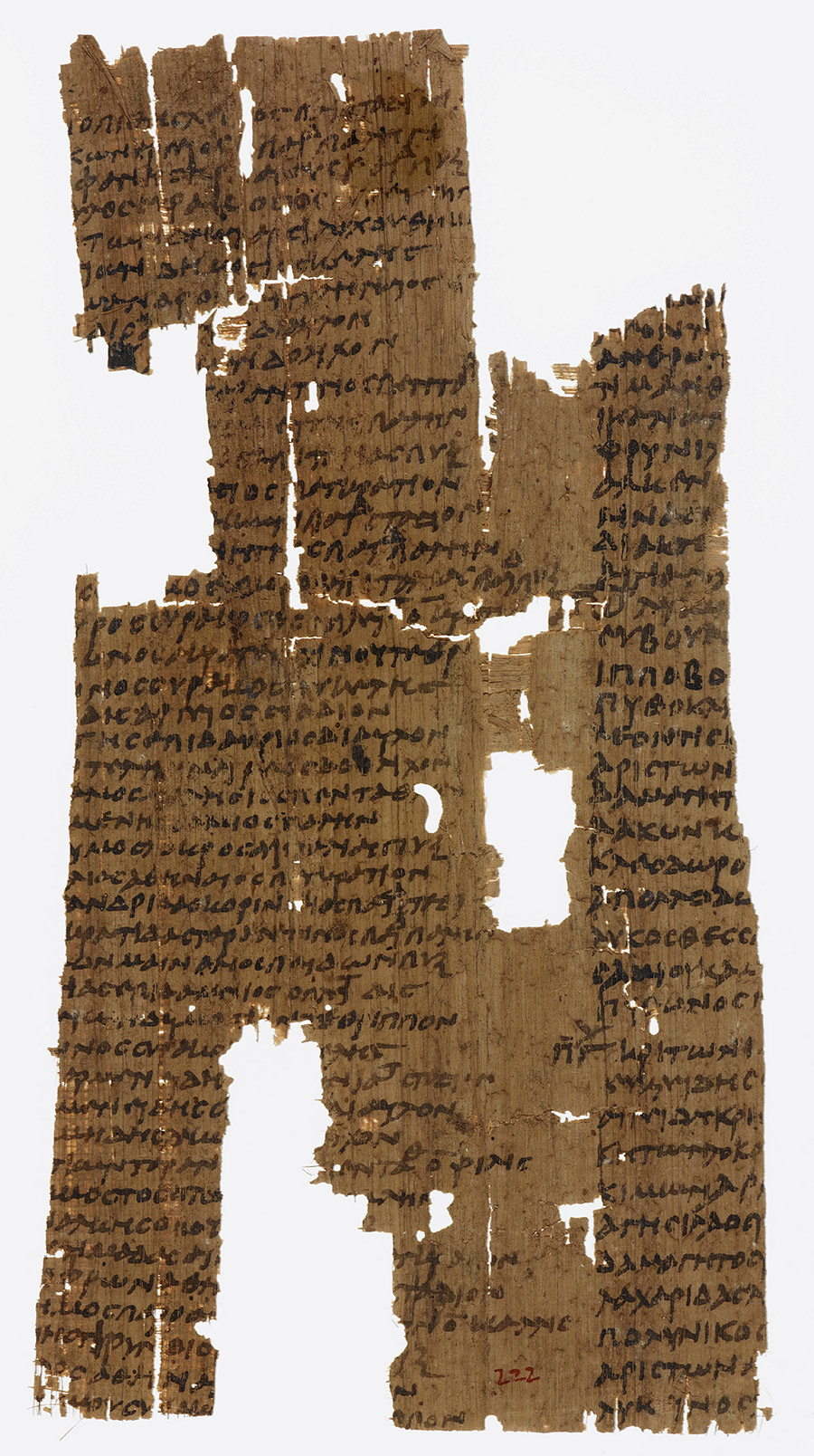 Torn papyrus with names in Greek listing winners of Olympic Games