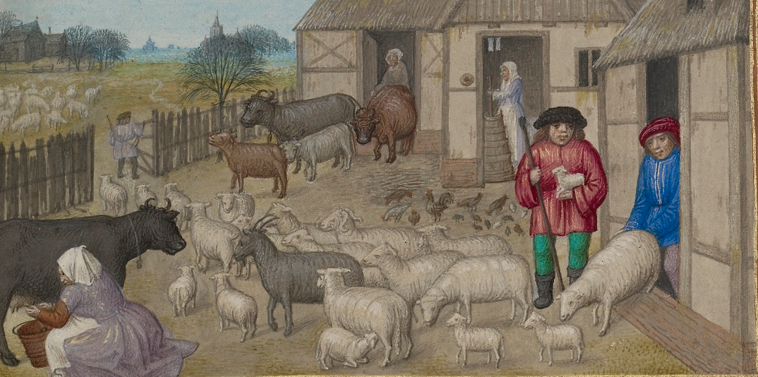 Farm Animals, Milking, and Buttermaking; Zodiacal Sign of Taurus, about 1510-1520, Workshop of the Master of James IV of Scotland. Tempera colors, gold, and ink on parchment, 9 1/8 x 6 9/16 in. The J. Paul Getty Museum, 83.ML.114.3