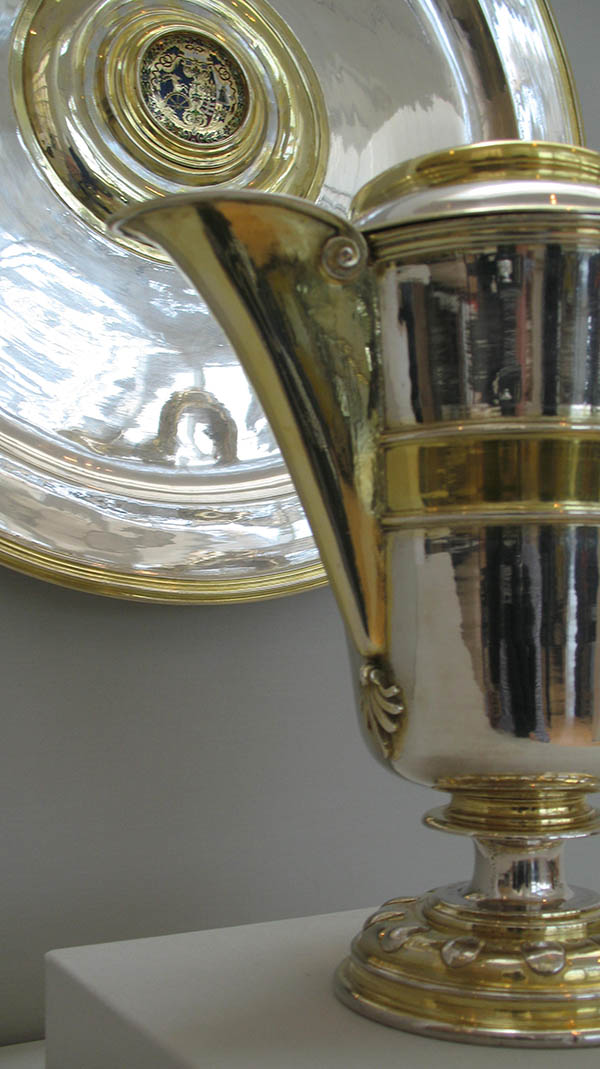Detail of a partially gilt silver ewer and basin