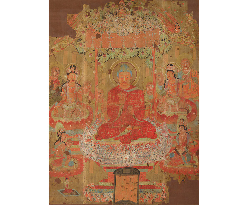 Buddha preaching the Law, ca. 701–750 CE, ink and pigments on silk.