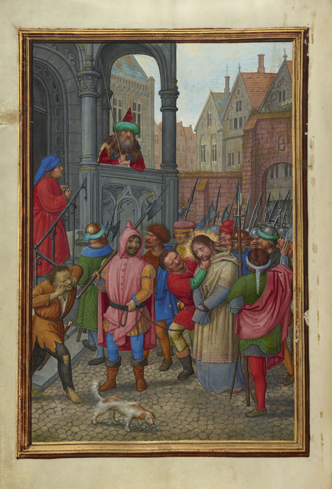 Christ Led from Herod to Pilate, about 1483–1561, Simon Bening. Tempera colors, gold paint, and gold leaf on parchment; 6 5/8 x 4 1/2 in. J. Paul Getty Museum, Ms. Ludwig IX 19, fol. 147v