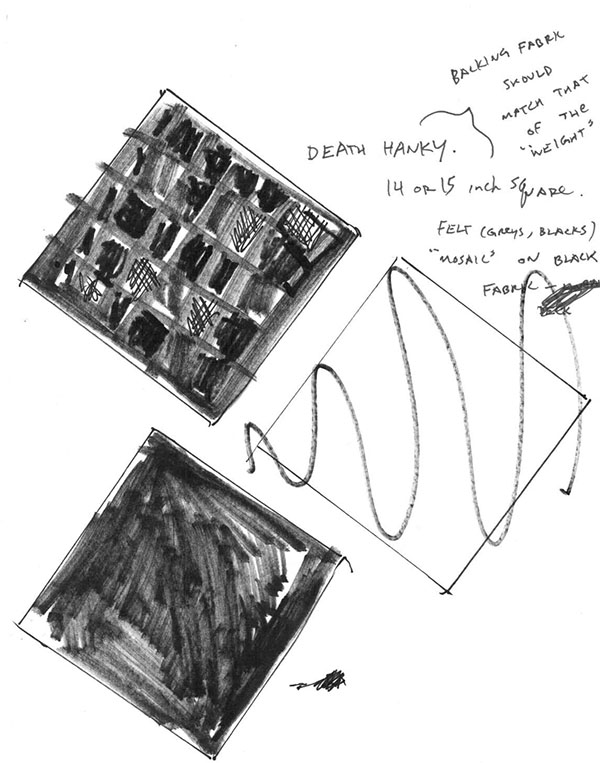 Gregory's sketch of the Death Handkerchief.