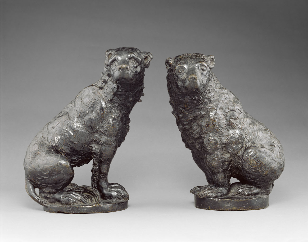 Dog and Bear, about 1600, unknown, Italian. Bronze; left: 12 x 8 5/8 x 7 7/8 in., right: 11 5/8 x 8 7/8 x 9 1/2 in. The J. Paul Getty Museum, 86.SB.5