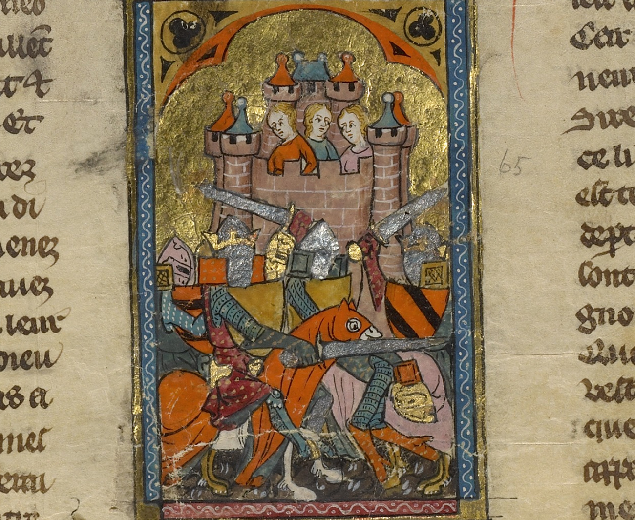 The Tournament before the Castle of Pucelles, about 1320–40, unknown artist. Tempera colors, gold and silver on parchment, 15 1/2 x 11 3/4 in. The J. Paul Getty Museum, Ms. Ludwig XV 5, fol. 283v. Digital image courtesy of the Getty's Open Content Program