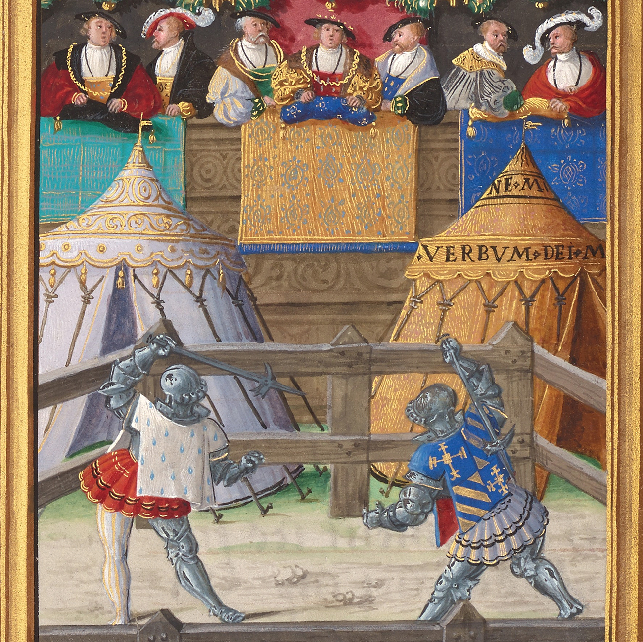 Jacques de Lalaing Fighting Jean Pitois at the Passage of Arms of the Fountain of Tears, about 1530–40, Circle of the Master of Charles V. Tempera colors and gold on parchment, 14 5/16 x 10 5/16 in. The J. Paul Getty Museum, Ms. 114, fol. 129v. Acquired in honor of Thomas Kren. Digital image courtesy of the Getty's Open Content Program