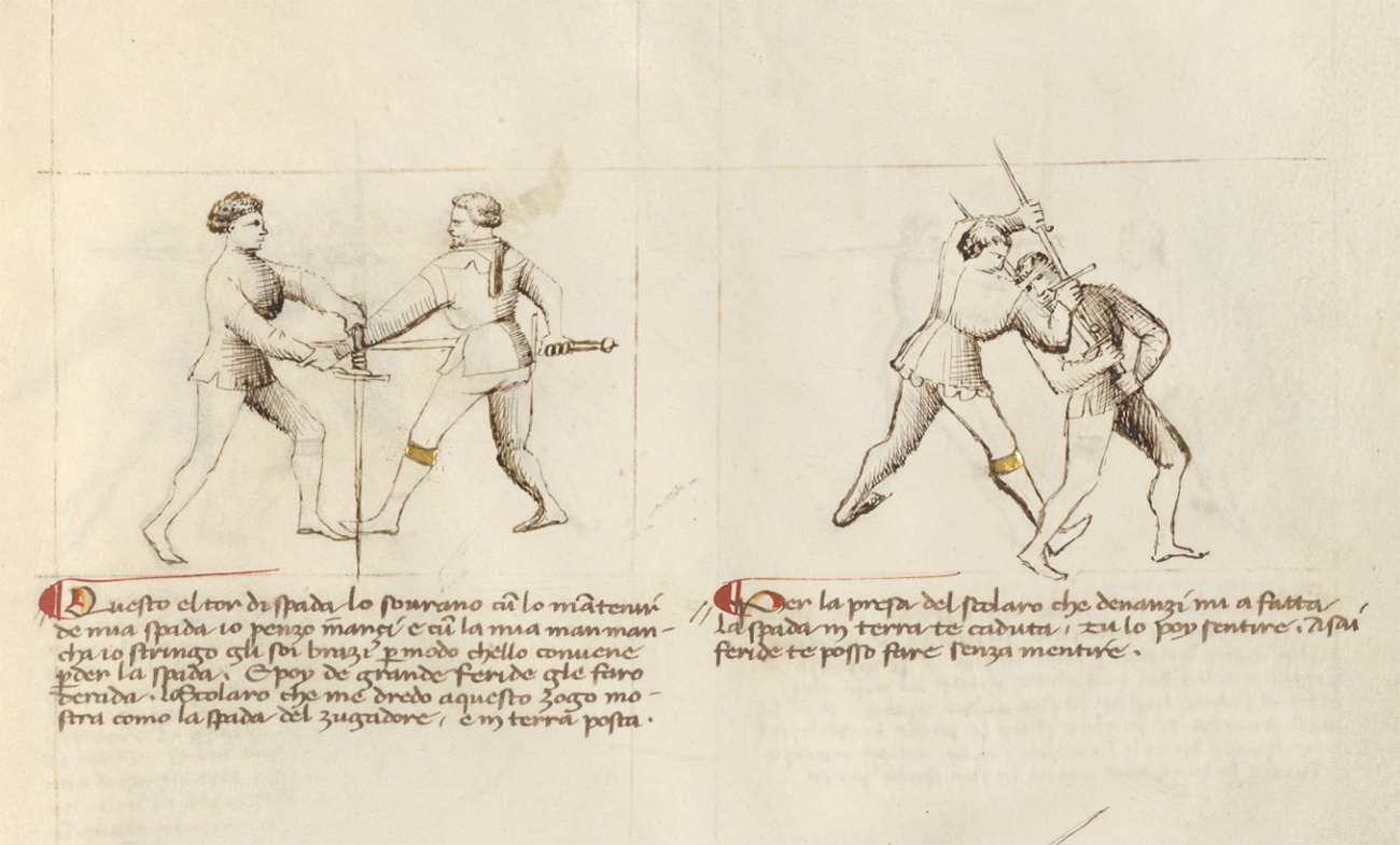 Combat with Sword, about 1340–50, unknown artist. Ink and gold on parchment, 11 x 8 1/8 in. The J. Paul Getty Museum, Ms. Ludwig XV 13, fol. 30. Digital image courtesy of the Getty's Open Content Program