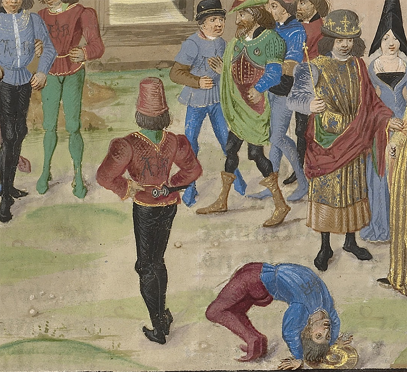 The Competition in Sittacene and the Placating of Sisigambis, about 1470–75, Master of the Jardin de Vertueuse Consolation. Tempera colors and gold on parchment, 17 x 13 in. The J. Paul Getty Museum, Ms. Ludwig XV 8, fol. 99. Digital image courtesy of the Getty's Open Content Program
