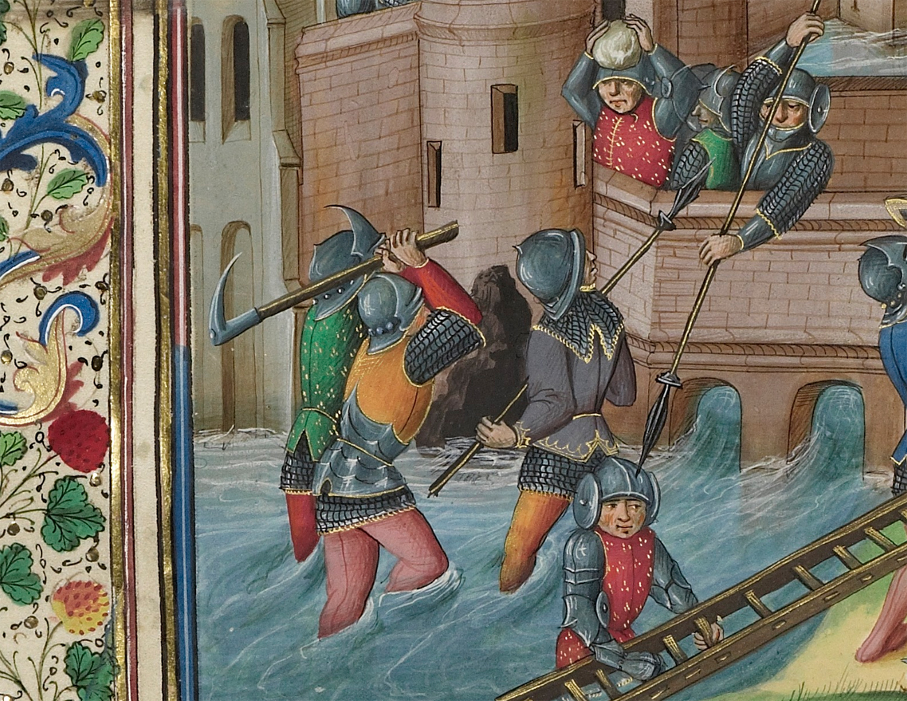 John of Gaunt Sailing for Brest and the Battle between the English and the Bretons, about 1480-83, Master of the Soane Josephus. Tempera colors and gold on parchment, 17 x 13 in. The J. Paul Getty Museum, Ms. Ludwig XIII 7, fol. 116v. Digital image courtesy of the Getty's Open Content Program