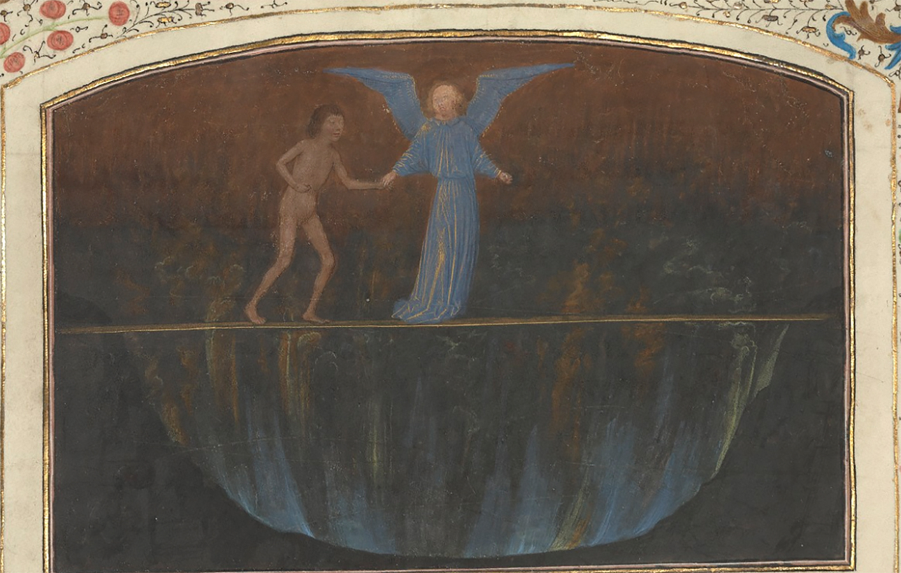The Torment of the Proud - Valley of Burning Sulphur, 1475, Simon Marmion. Tempera colors and gold on parchment, 14 5/16 × 10 5/16 in. The J. Paul Getty Museum, Ms. 30, fol. 15v. Digital image courtesy of the Getty's Open Content Program
