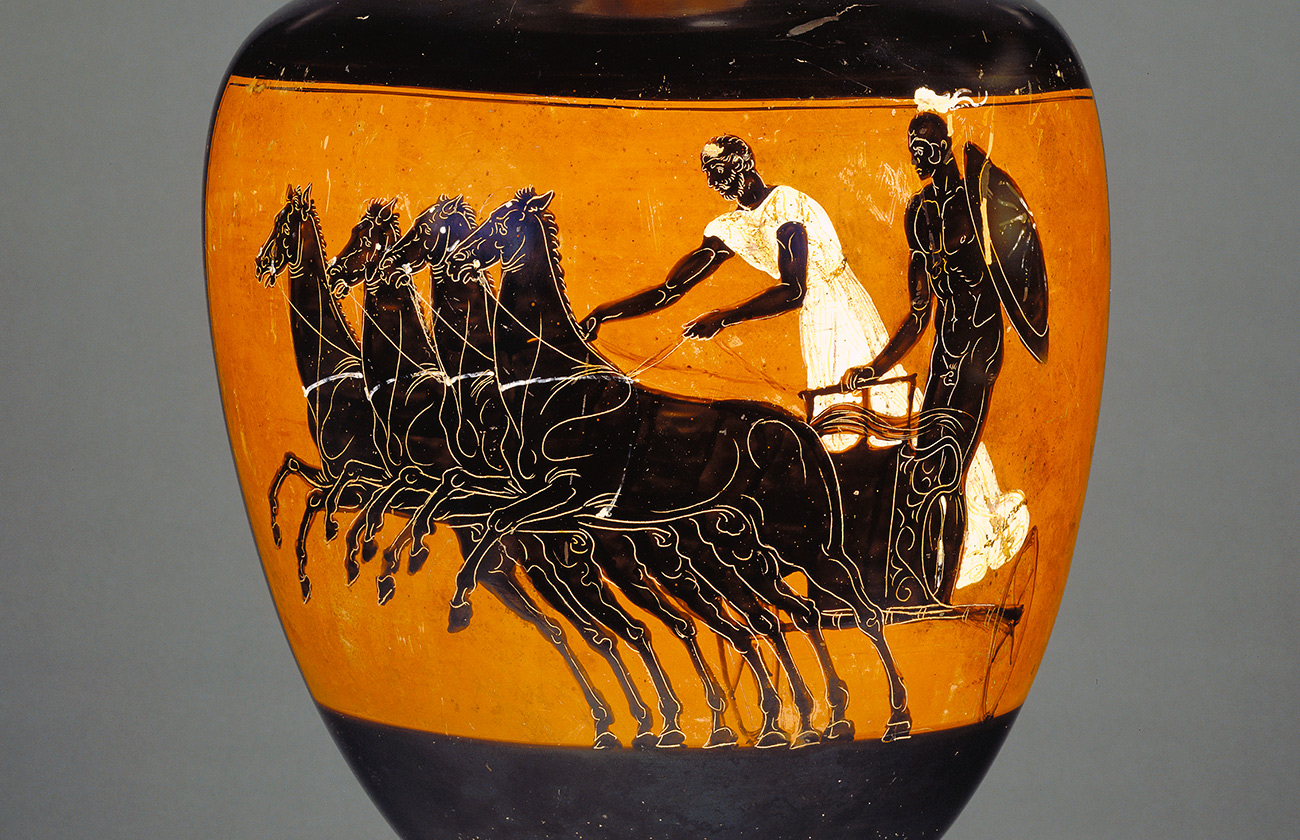 Vase painting of a chariot race, showing a soldier leaping on and off the chariot as the horses gallop