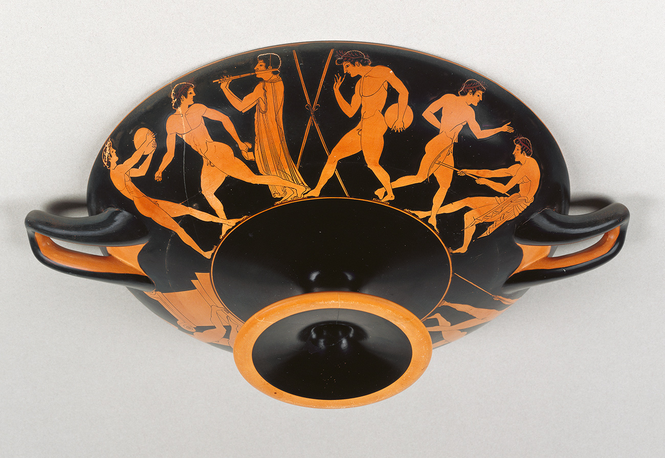 Drinking cup showing naked athletes practicing events of the pentathlon