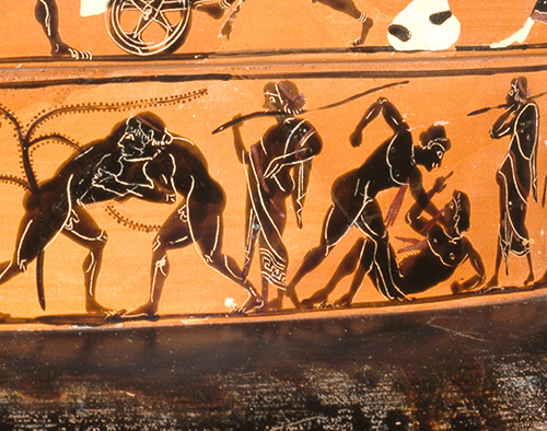 Vase painting of an ancient Greek official overseeing athletic competitions