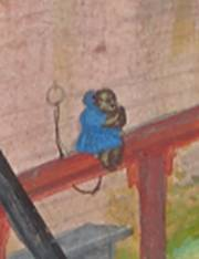 Detail of monkey. The Author in his Study, about 1530–40, Simon Bening