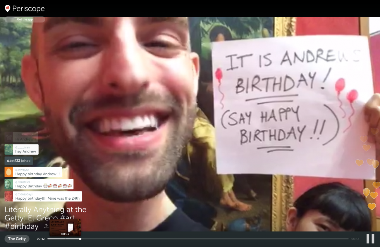 A screenshot of a broadcast where Andrew is smiling and commenters wish him a Happy Birthday.