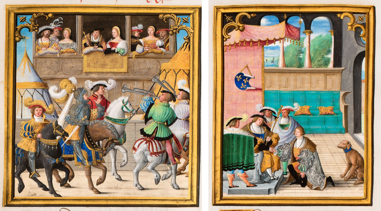 Left: Jacques de Lalaing Arriving at a Joust before the King of France (detail), about 1530–40; Circle of Master of Charles V. Tempera colors, gold leaf, gold paint, and ink; 14 5/16 x 10 5/16 in. J. Paul Getty Museum, Ms. 114, fol. 40v. Acquired in honor of Thomas Kren. Right: Jacques de Lalaing Kneeling before the Dauphin of France (detail), about 1530–40; Circle of Master of Charles V. Tempera colors, gold leaf, gold paint, and ink; 14 5/16 x 10 5/16 in. J. Paul Getty Museum, Ms. 114, fol. 91. Acquired in honor of Thomas Kren