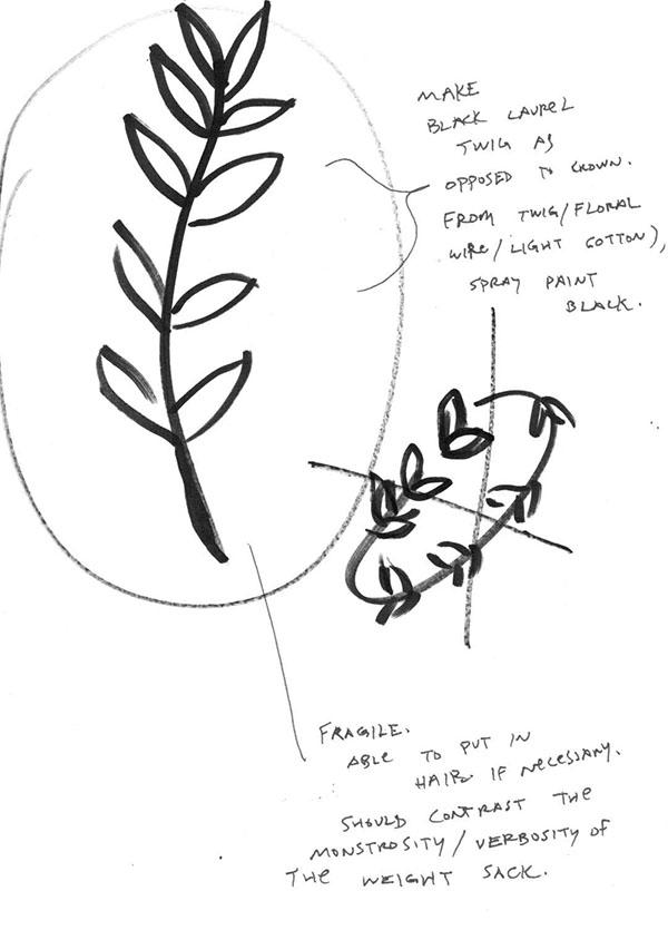 Gregory's sketch of the LaurelBranchWandDagger.