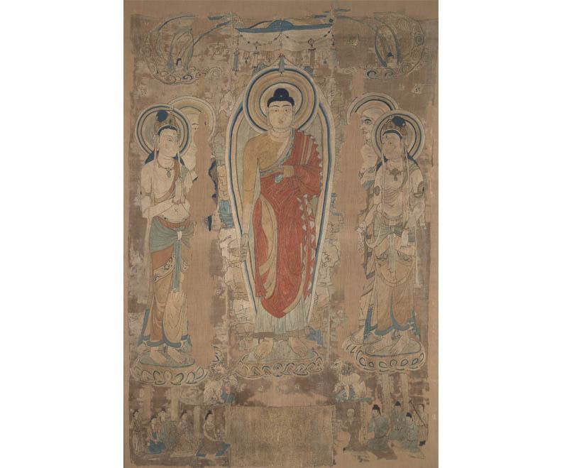 Miraculous Image of Liangzhou (Fanhe Buddha), ca. 700s CE, silk thread on silk with hemp backing.