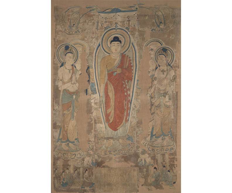 Miraculous Image of Liangzhou (Fanhe Buddha), ca. 700s CE, silk thread on silk with hemp backing.