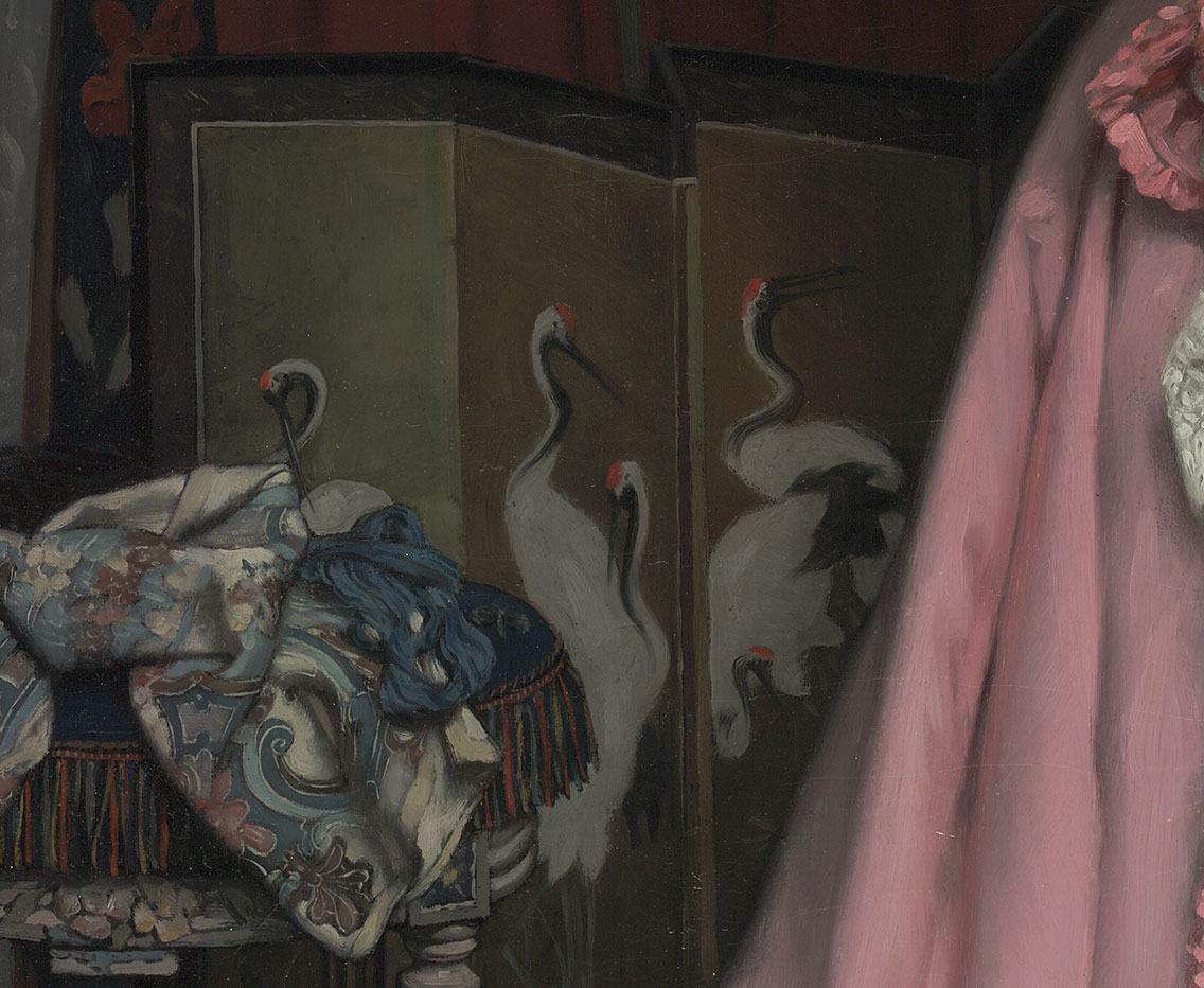 Portrait of the Marquise de Miramon, née Thérèse Feuillant (detail of screen) / Tissot