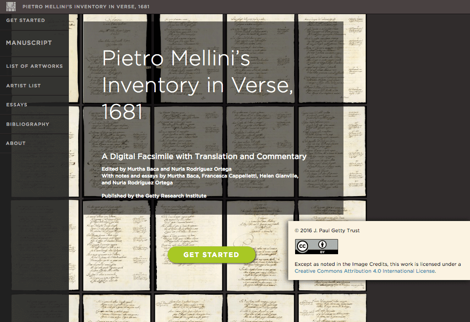 Screen capture of Mellini website showing Creative Commons licensing