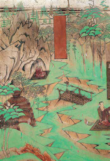 Wall painting from the Mogao caves showing topography and vegetation