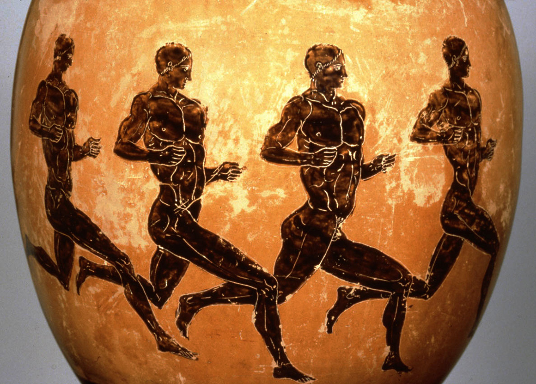 Vase painting of ancient Greek athletes on a long-distance run