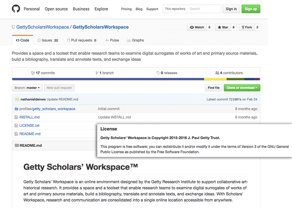 Screen capture of Getty Scholars' Workspace on GitHub showing its GNU licensing