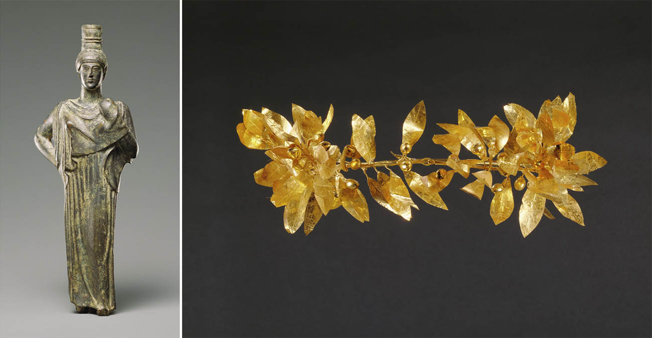 Left: Statuette of a Woman / Greek; Right: Wreath with detached stem including leaves and detached berries / Greek