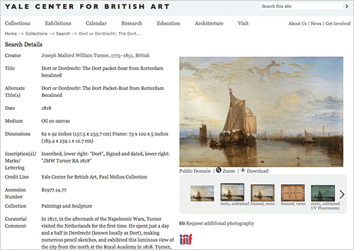 Screen capture of a JMW Turner paintingshowing an IIIF image viewer and open content download