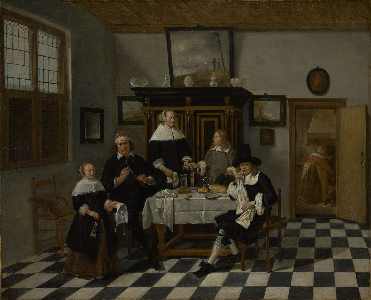 Family Group at Dinner Table / Gerritsz. van Brekelenkam