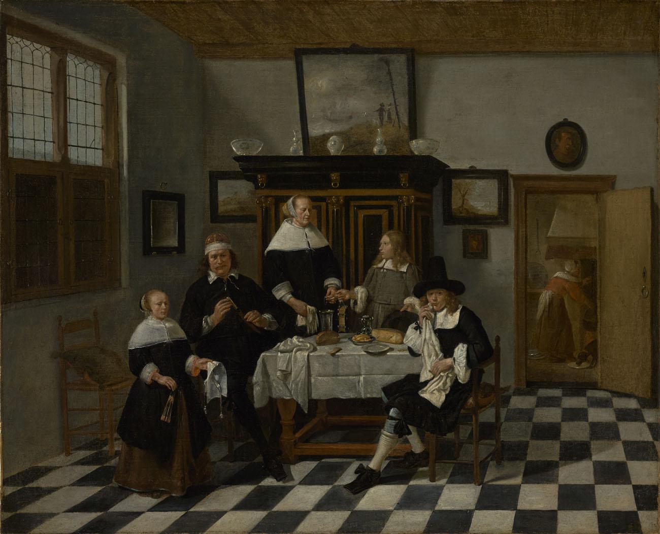 Family Group at Dinner Table / Gerritsz. van Brekelenkam
