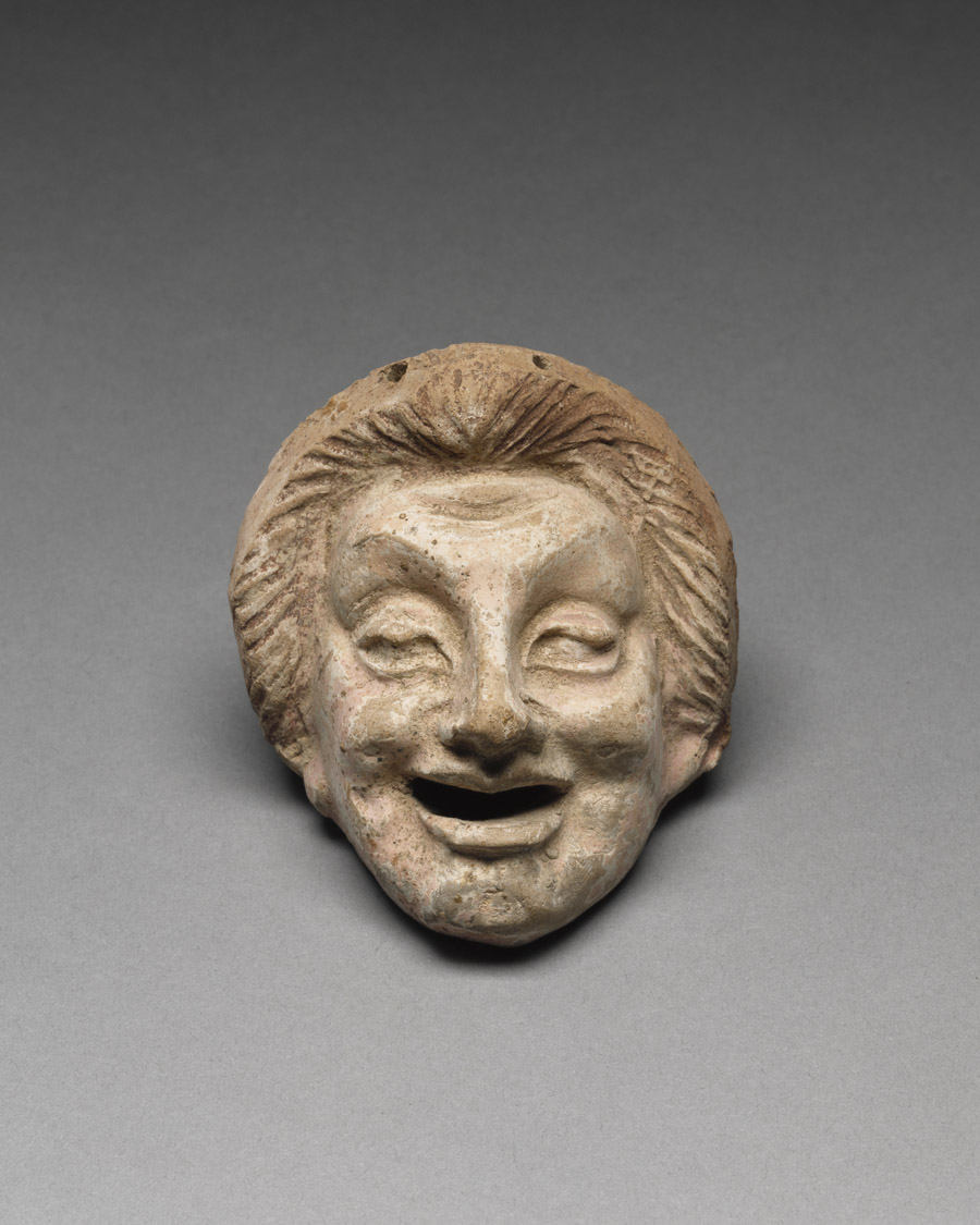 Terracotta mask of a young man
