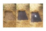 Three side-by-side images: (left) rectangular space of cleared earth; (center) a black cloth covers the cleared earth; (right) three notecards sit on the cloth.