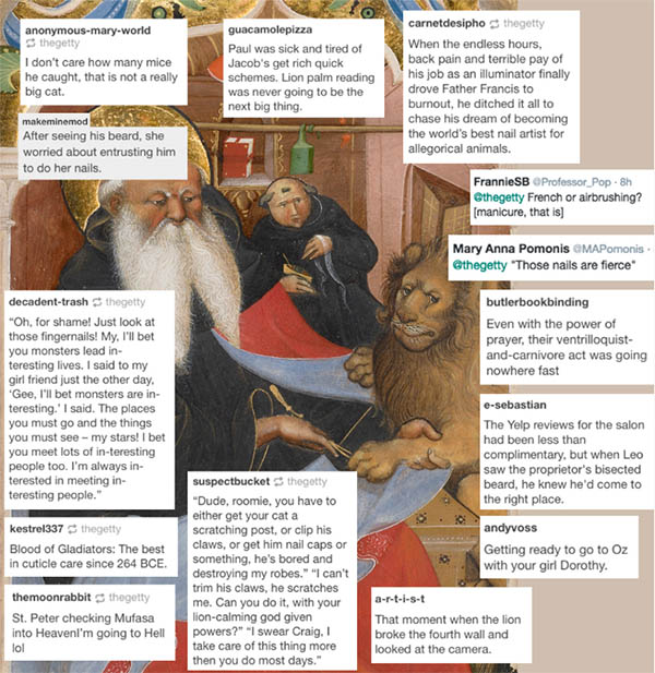 Screengrab of ThyCaptionBe example showing detail of illuminated manuscripts and captions from social media users