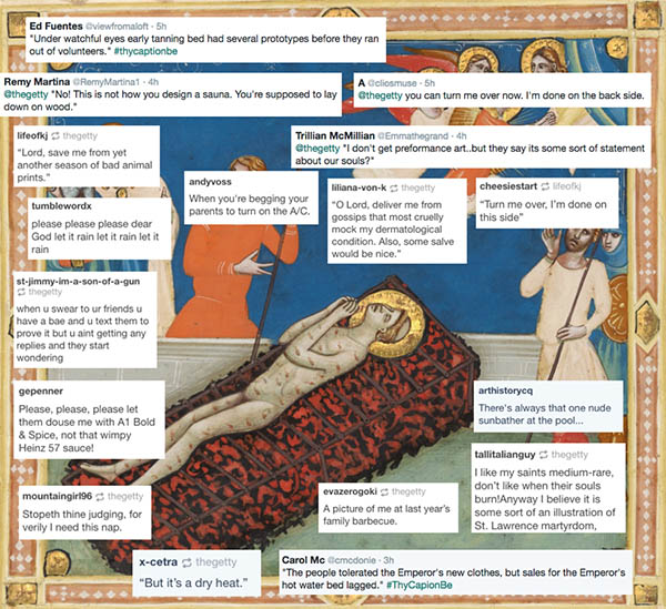 Screengrab of ThyCaptionBe example showing detail of illuminated manuscript featuring a saint and captions from social media users