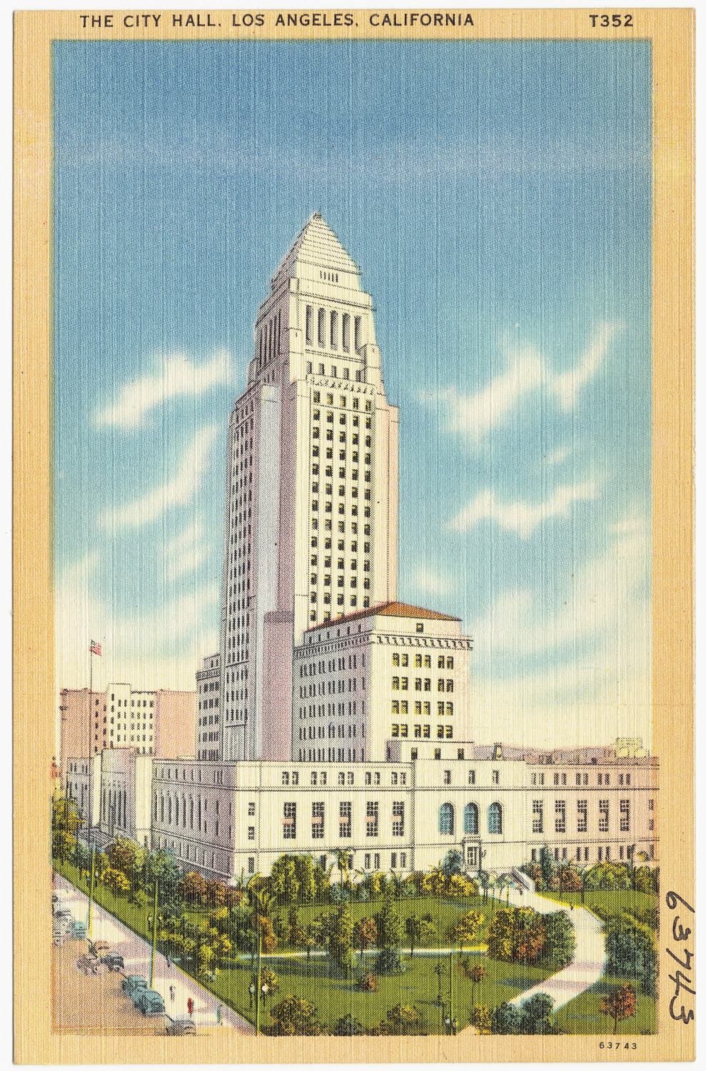 Vintage postcard showing L.A. city hall