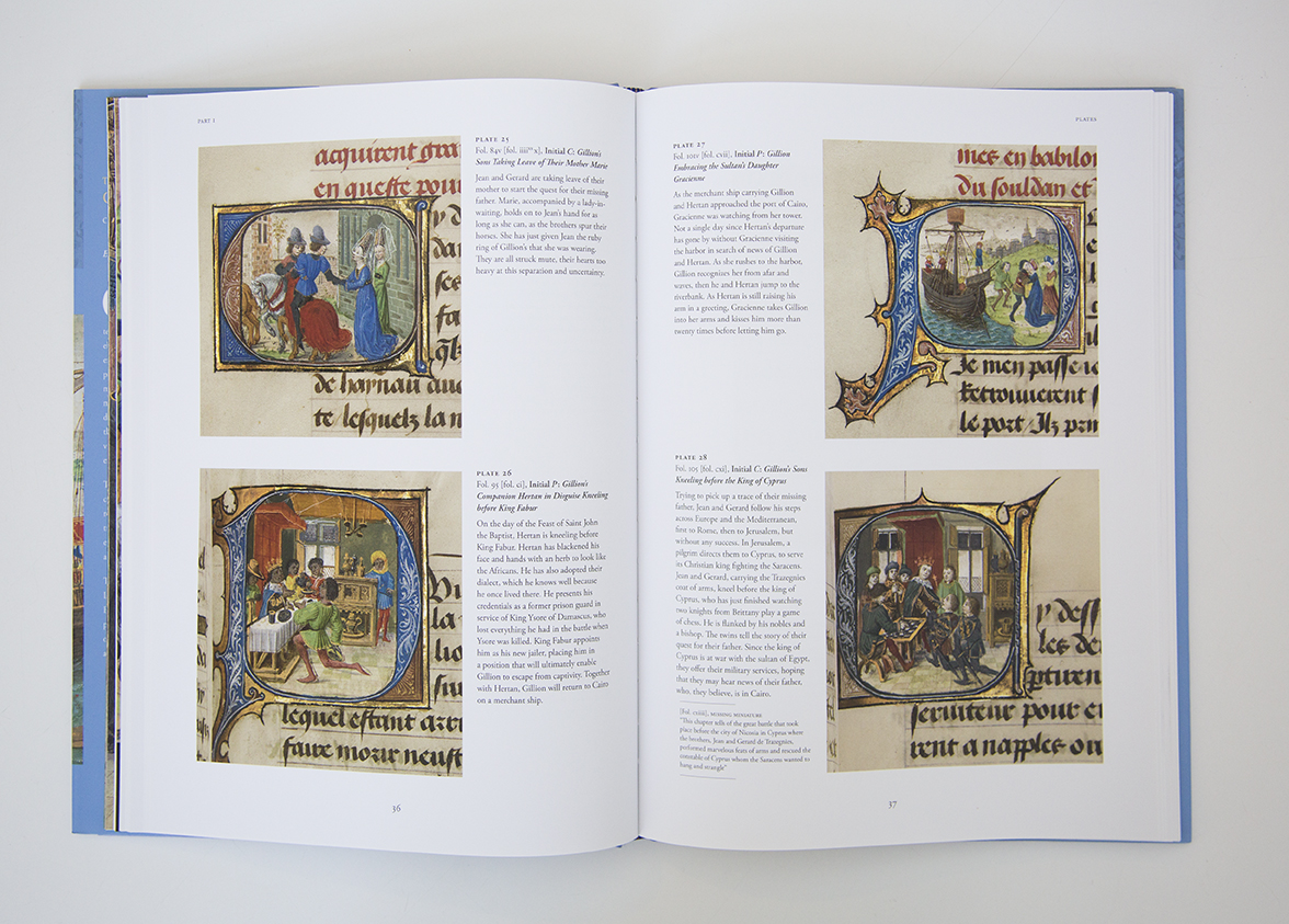 The book The Adventures of Gillion de Trazegnies: Chivalry and Romance in the Medieval East opened to a catalogue page