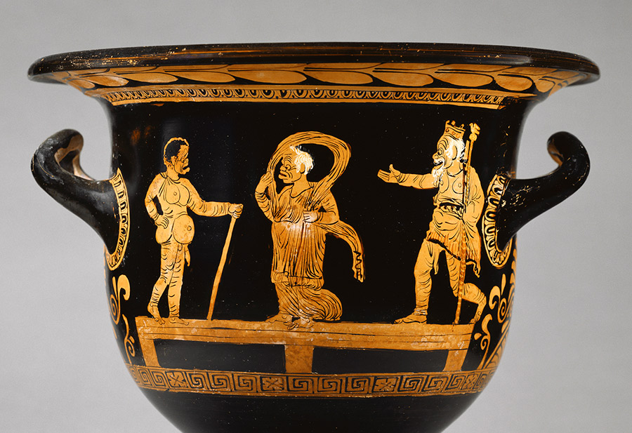 Comic actors on a Apulian Red-Figure Bell Krater