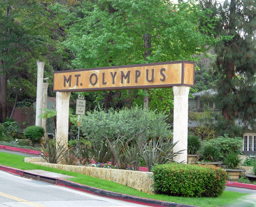 Mt. Olympus sign in Laurel Canyon