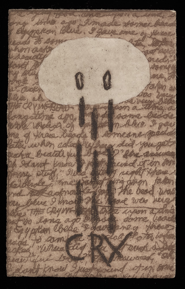 Cursive script and shapes and letterforms in black on sepia-toned paper